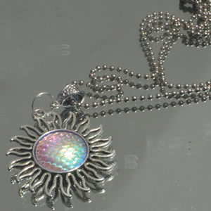 Pink Blue Psychedelic Mermaid Sun Pendant Necklace